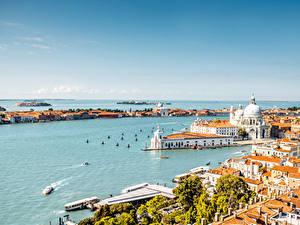 Картинки Италия Здания Пристань Венеция Залив Города