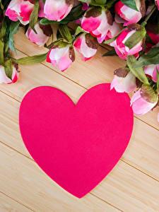 Обои День всех влюблённых Розы Доски Сердце Розовая Цветы