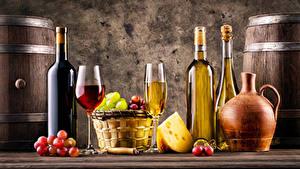 Картинка Вино Виноград Сыры Бутылки Бокал Корзины Кувшины Пища