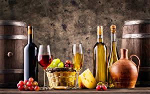 Картинка Вино Виноград Сыры Бутылки Бокал Корзины Кувшины