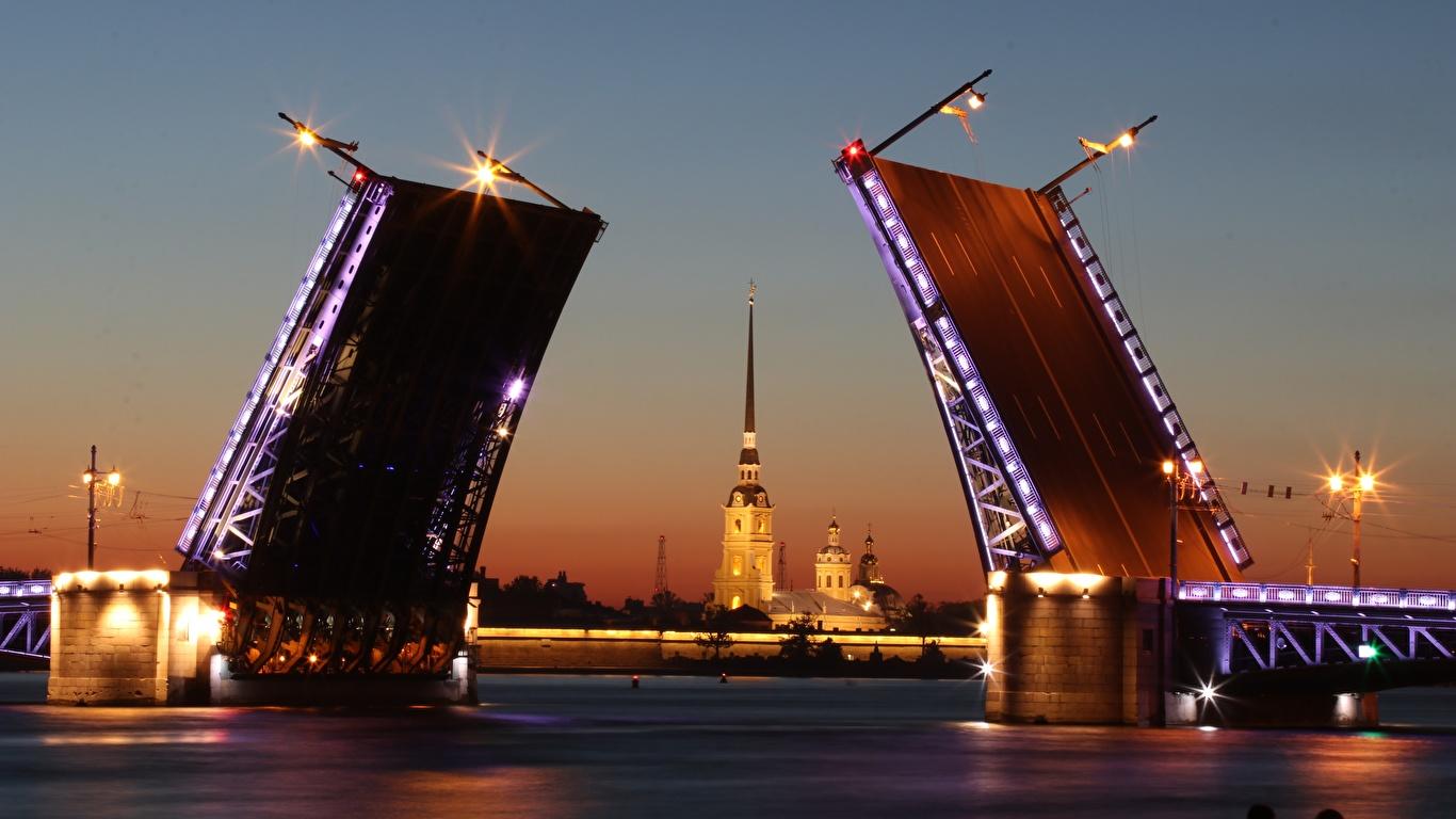 Фото Санкт-Петербург Россия Neva Мосты Реки Вечер город 1366x768 речка Города