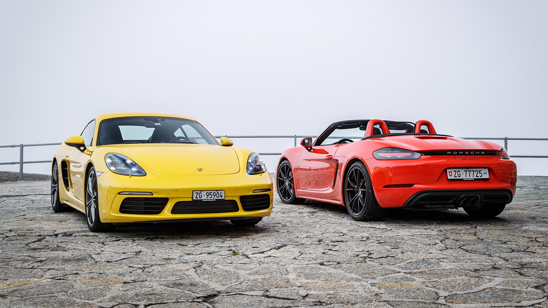 Картинка Porsche 718 Двое Металлик автомобиль 1920x1080 Порше 2 два две вдвоем авто машина машины Автомобили