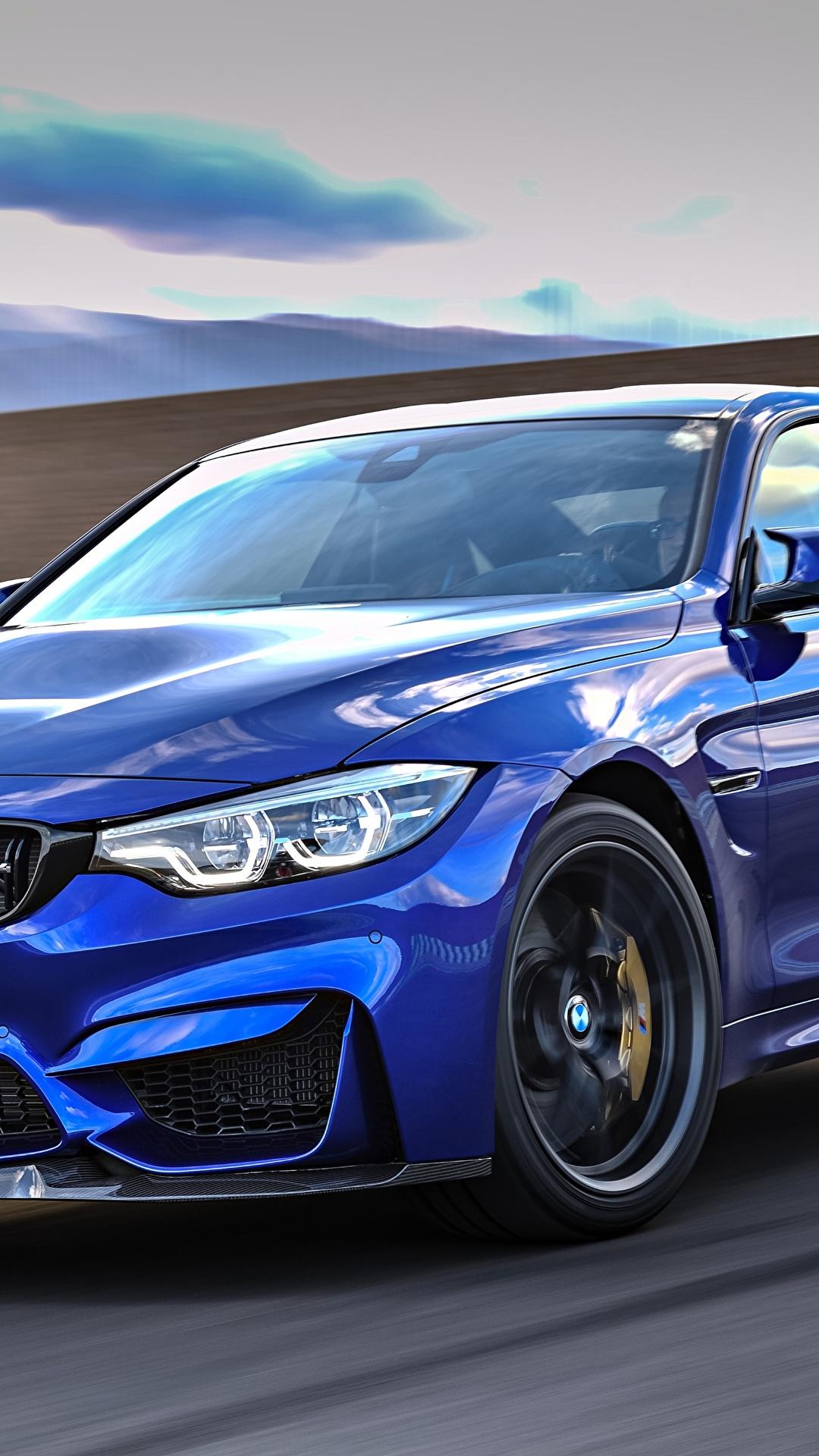 Фотографии BMW 2017 M4 CS Worldwide синяя Движение авто Металлик 1080x1920 БМВ синих синие Синий едет едущий едущая скорость машина машины автомобиль Автомобили