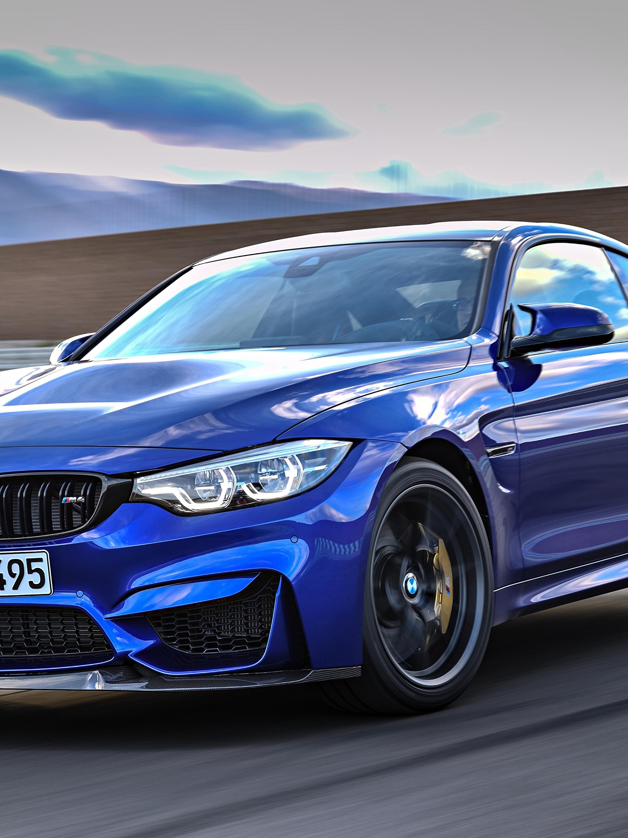 Фотографии BMW 2017 M4 CS Worldwide синяя Движение Авто Металлик 2048x2732 БМВ синих синие Синий едущий скорость Машины Автомобили