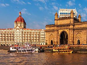 Картинка Индия Катера Пирсы Здания Залива Mumbai город