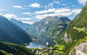 Картинки Горы Небо Норвегия Каньоны Облачно Geiranger Природа