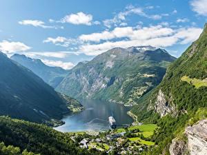 Картинки Горы Небо Норвегия Каньоны Облачно Geiranger