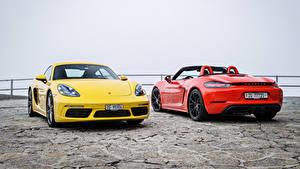 Картинка Porsche Двое Металлик Porsche 718 машина