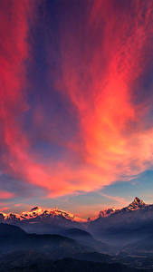 Обои Пейзаж Небо Горы Рассветы и закаты Ночь Облако Природа
