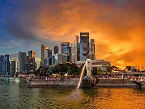 Картинки Сингапур Дома Парки Фонтаны Рассветы и закаты Лестницы Merlion Park город