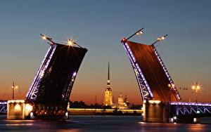 Фото Санкт-Петербург Россия Мосты Вечер Реки Neva Города