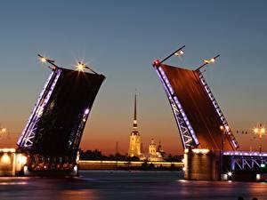 Фото Санкт-Петербург Россия Мост Вечер Реки Neva Города