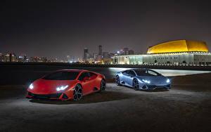 Фотография Lamborghini 2 Ночные 2019 Huracan EVO Авто