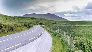 Фотография Дороги Ирландия Траве Ограда Ring of Kerry