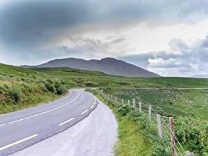 Фотография Дороги Ирландия Трава Забор Ring of Kerry