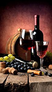 Картинки Вино Виноград Бочка Доски Бутылка Бокал