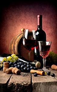 Картинки Вино Виноград Бочка Доски Бутылка Бокалы