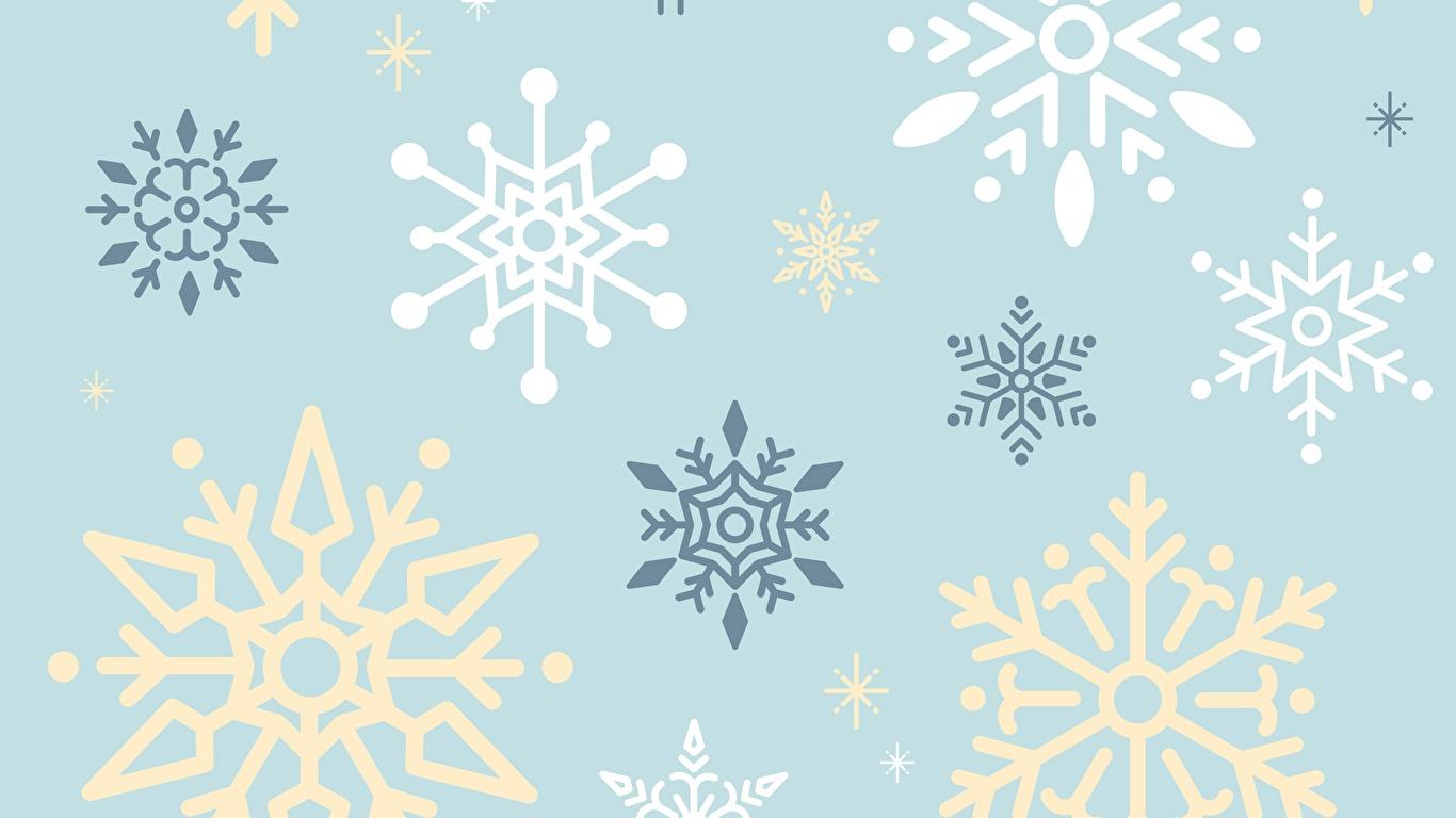 Фотографии Текстура снежинка 1366x768 Снежинки