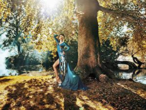 Фотографии Шатенки Платья Ствол дерева девушка
