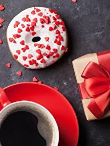 Фотография Пончики Кофе Бантик Подарки Продукты питания