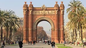 Картинка Памятники Испания Арка Улице Барселона Пальм Triomphe