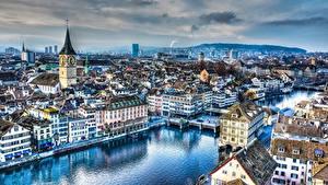 Фотография Швейцария Цюрих Речка Здания Мосты Вечер Церковь HDR Limmat river город