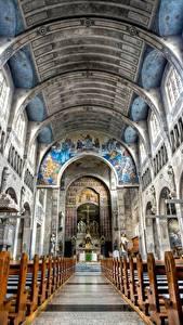 Фотография Германия Церковь Храмы Потолок Вид снизу Скамья Saint George Church Hockenheim