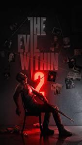 Обои Ружьё Мужчины Сидящие Стул Sebastian Castellahe, the Evil Within 2 компьютерная игра