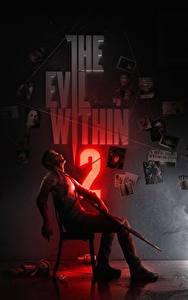 Обои Ружьё Мужчина Сидящие Стул Sebastian Castellahe, the Evil Within 2 компьютерная игра
