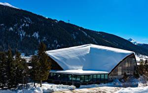 Картинка Швейцария Зимние Здания Горы Снег Davos Города