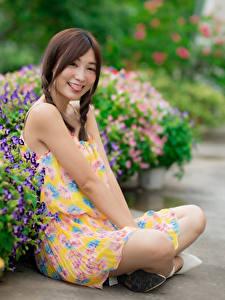 Фотография Азиатка Сидит Платье Коса Улыбается Язык (анатомия) Размытый фон молодая женщина