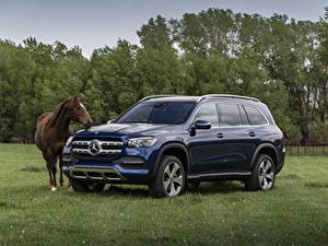 Картинки Mercedes-Benz Лошади Синяя Металлик 2020 GLS 450 4MATIC машины