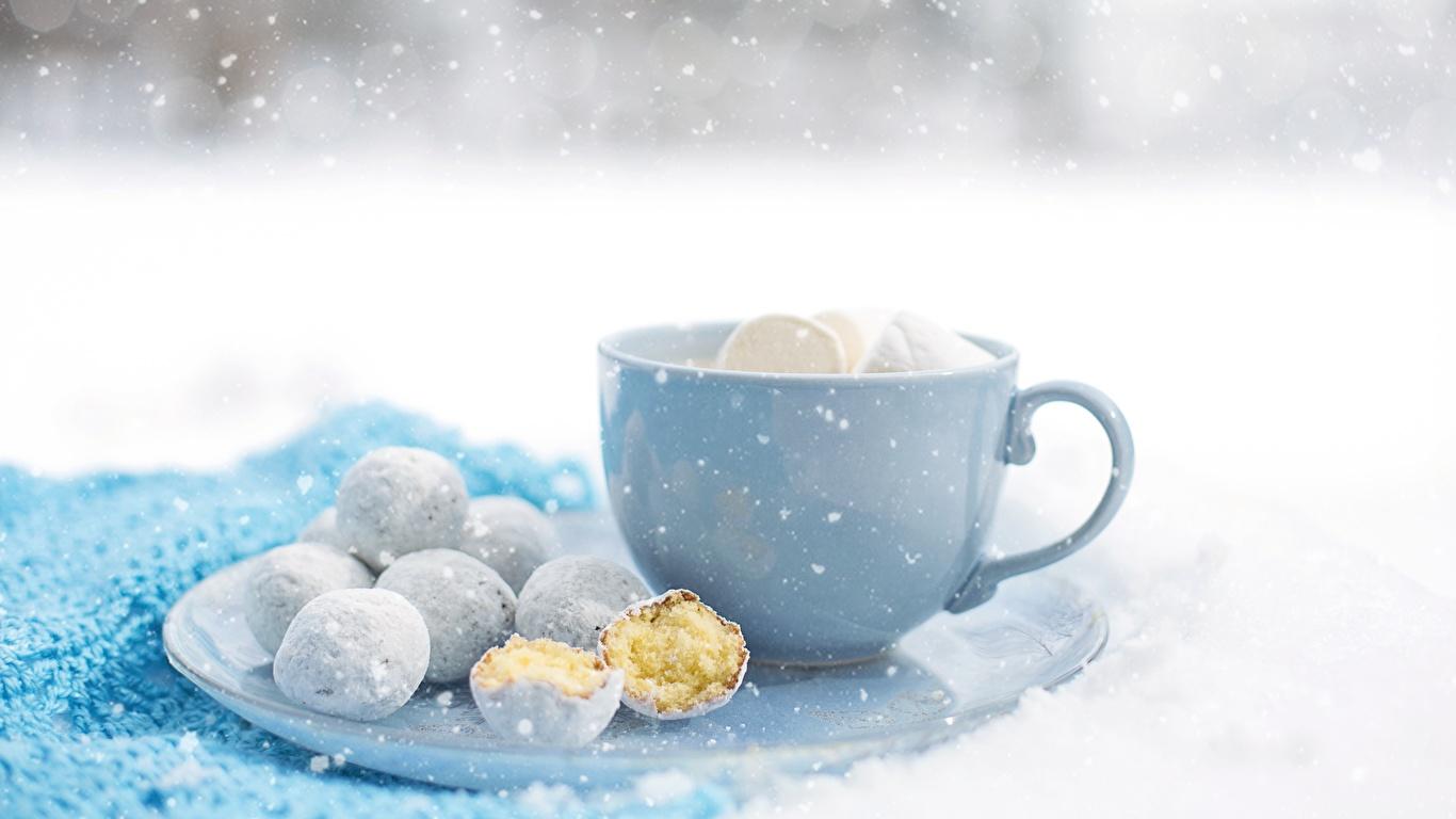 Картинка снежинка Еда чашке Печенье 1366x768 Снежинки Пища Чашка Продукты питания