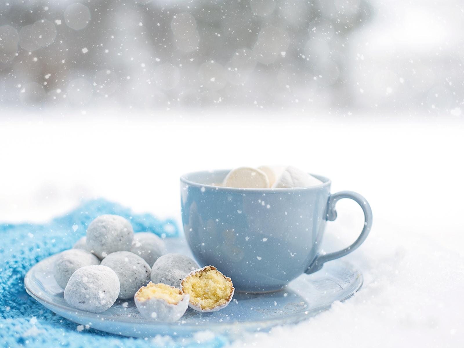 Картинка снежинка Еда чашке Печенье 1600x1200 Снежинки Пища Чашка Продукты питания