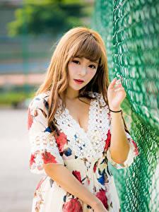 Картинки Азиаты Платье Боке Взгляд Ограда молодые женщины