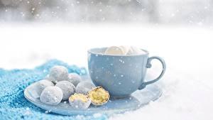 Картинка Печенье Чашка Снежинки Пища