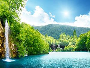 Фотография Водопады Леса Речка Лето Пейзаж Утес