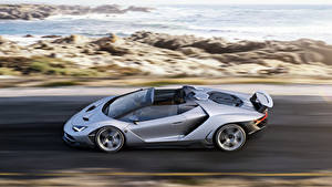 Картинки Lamborghini Сбоку Едет Родстер Centenario Автомобили