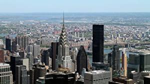 Фотография США Небоскребы Нью-Йорк Горизонт Мегаполиса Города