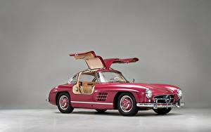 Обои Мерседес бенц Ретро Розовая Металлик 1956 300 SL Авто