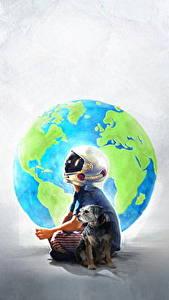 Обои Собаки Чудо 2017 Мальчишки Шлем Jacob Tremblay Фильмы