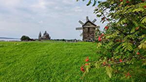 Фотографии Россия Храмы Поля Мельница Ветвь Kizhi Природа