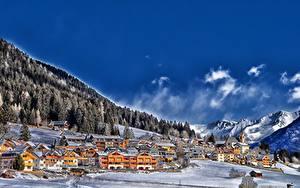 Фотография Франция Небо Горы Леса Зима Облако Село Снег Colle Di Fuori Природа