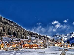 Фотография Франция Небо Горы Леса Зима Облако Деревня Снег Colle Di Fuori Природа