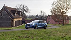 Фотографии Volvo Голубые Универсал 018-19 V60 D4 R-Design