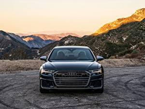 Обои Audi Гора Спереди Черная Металлик A6, 2020, S6, US-version авто