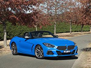 Картинка BMW Z4 BMW Кабриолет Голубой 2019 Z4 M40i Автомобили