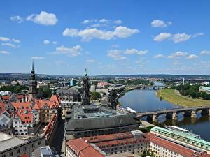 Картинки Германия Дрезден Реки Мосты Дома Elbe