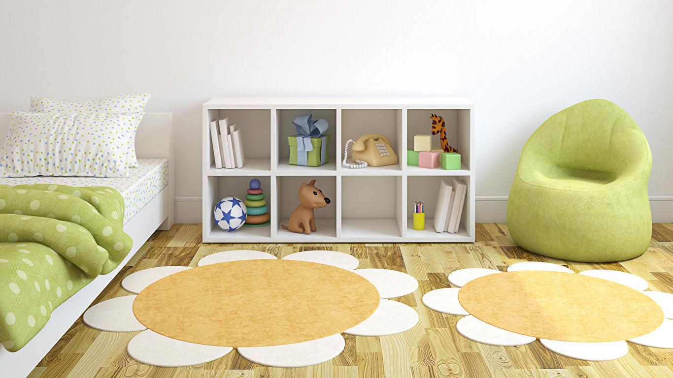 Обои для рабочего стола Детская комната 3д Интерьер Кресло игрушка Дизайн 1366x768 3D Графика Игрушки дизайна