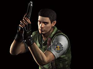 Обои Resident Evil Мужчины Пистолеты Полицейские Черный фон Chris Игры